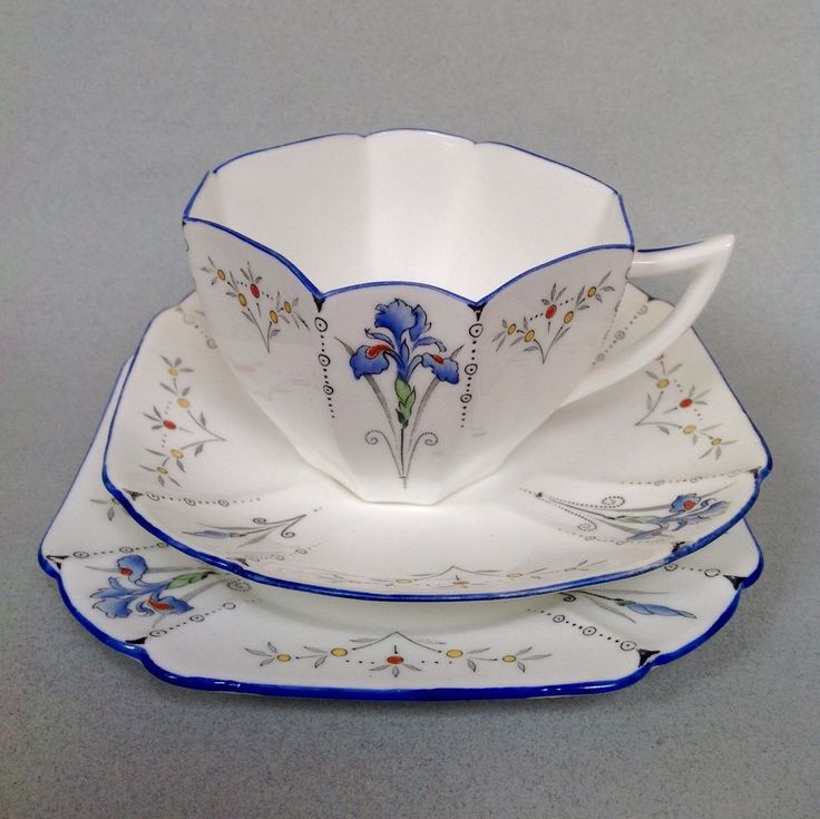 Art Deco Shelley Queen Ann Blue Iris Pattern Cup Saucer Plate Trios