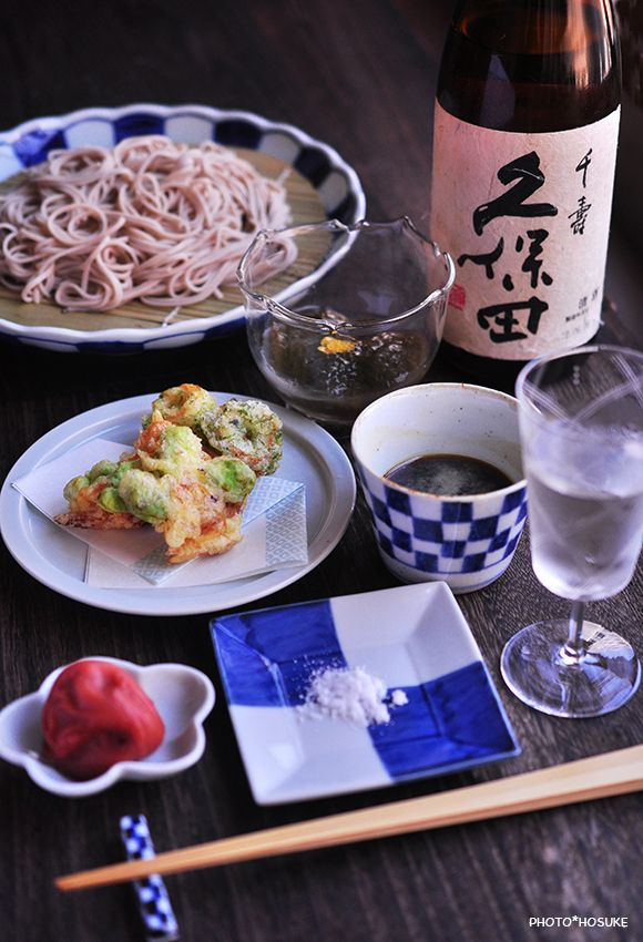 Japanese meal with cold sake
