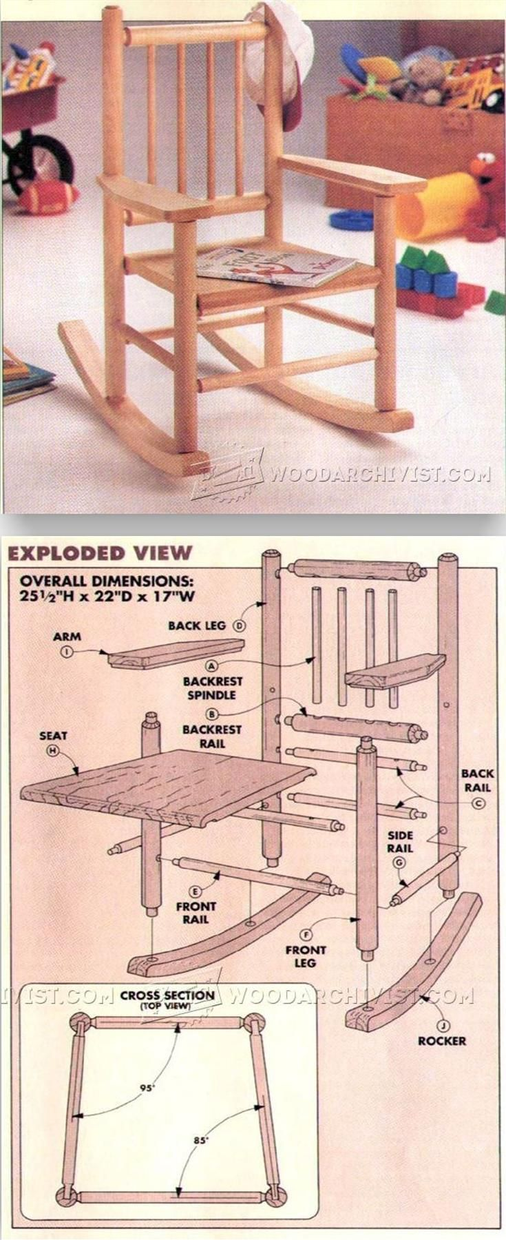 How to make a simple wooden rocking chair - Childs Rocking Chair Plans Children S Furniture Plans And Projects Woodarchivist Com