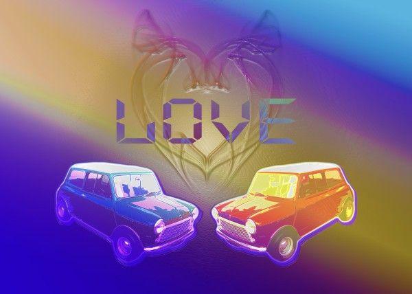 Mini Love Poster by Emily Pigou  #mini #cars # love #poster #pop #art #displate #colors