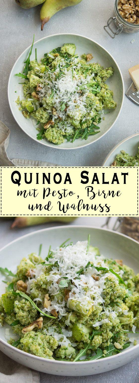 Quinoa Salat mit Pesto, Birne und Walnuss