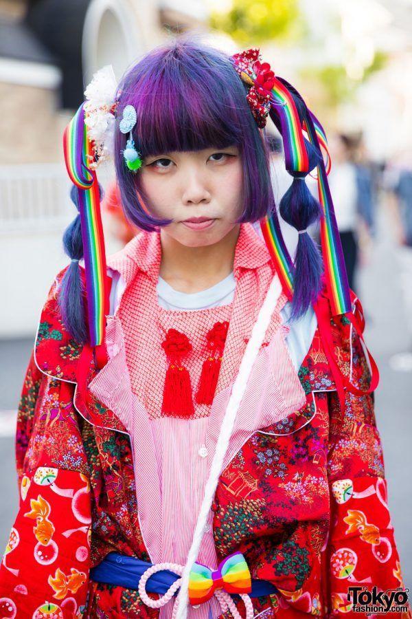 Harajuku Girl in Kawaii Remake Kimono w/ Purple Twin Tails, Rainbows, Cute Accessories & Platforms