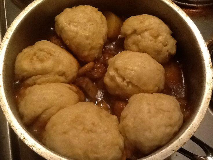 Good ol' South African soul food: Dumplings settled atop pork shank stew #yummyfood #passionatelycooking