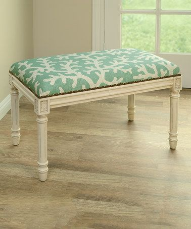 Look what I found on #zulily! Aqua Coral Linen-Upholstered Wooden Stool by 123 Creations #zulilyfinds