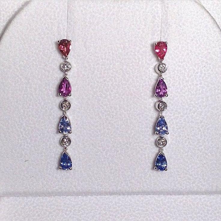 Luis-Miguel Howard (@lmhowardjewels) on Instagram:Multi colour #sapphire and #diamond #earrings.