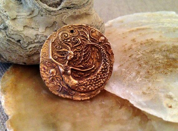 Bronze Mermaid and Octopi Coin Pendant by cynthiathornton on Etsy, $20.00
