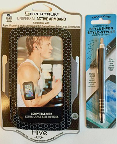 Hands Free Smart-Phone Holder-Universal Sports Armband With Stylus Pen ( 2 PC Bundle) Full Screen Access (Black with Baby Blue Bumble-Bee Trim Design-Blk & Silver Stylus Pen)