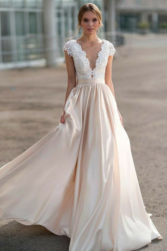 A line Brief Sleeves Blush Marriage ceremony Gown