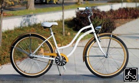 Egyedi Agyváltós Női Cruiser Kerékpár 3sp - Fehér-Arany