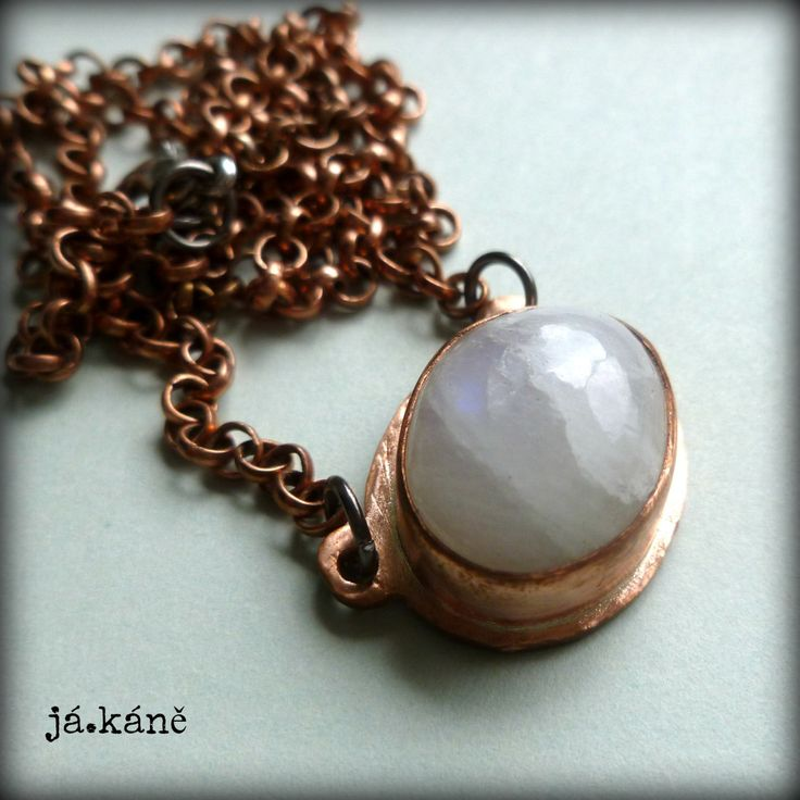 rainbow moonstone pendant, rustic copper necklace, by jakanestudio on Etsy