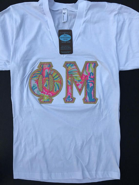 Phi Mu Oversized Greek Stitched Lettered American Apparel