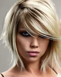 Platinum Ombre Hair Color | Platinum blonde color with shaggy bob and a swoop bang