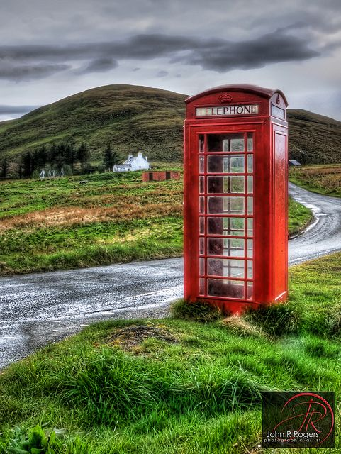 Red Telephone Booth, Isle of Skye, Scotland. I have dreams about the Isle of Skye