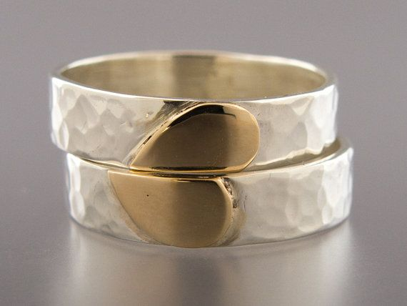 heart wedding band set in 14k gold and sterling by lichenandlychee 26000