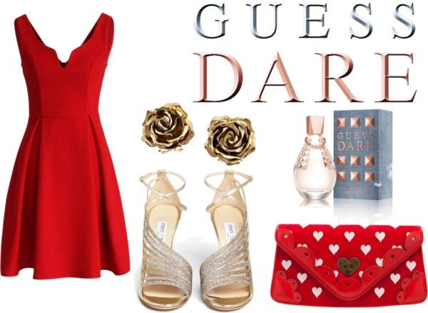 """""""Heat Up Your Valentine's Day with GUESS DARE: Contest Entry"""" by sandra-giduskova ❤ liked on Polyvore"""