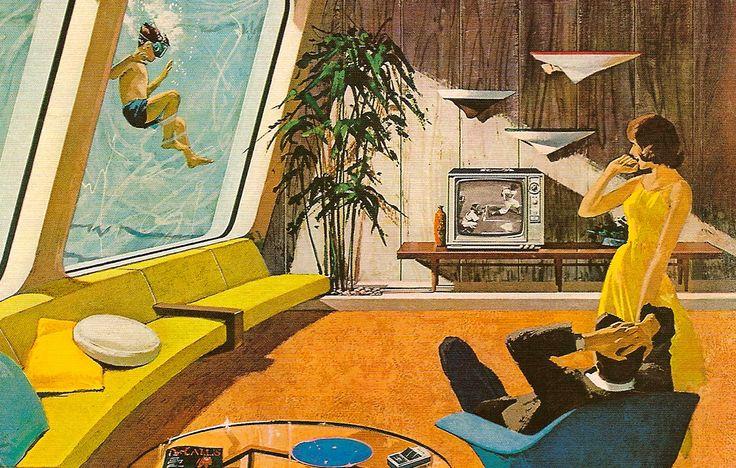 mid-century futuristic architectural illustration. Motorola ad. Underwater house