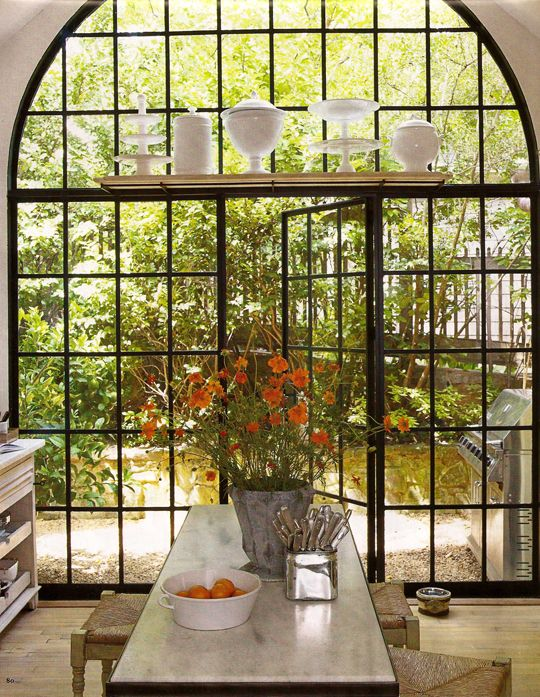 Steel Frame Window - French Country Kitchen and other lovely rooms w/ steel  frame window