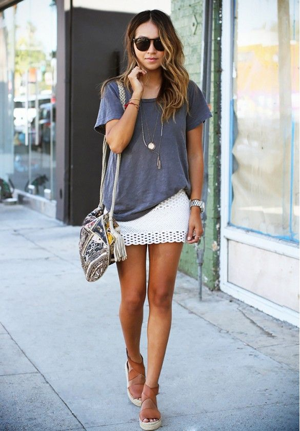 Slouchy tee with a white mini skirt and platform sandals