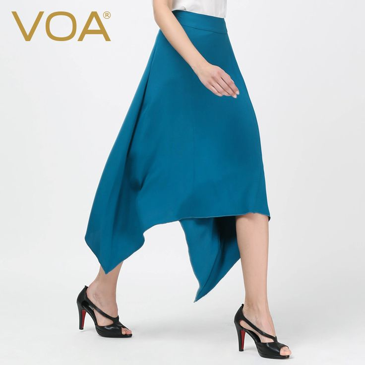 Find More Skirts Information about VOA blue queen silk split skirt female high end large mid calf asymmetrical skirts new C5506,High Quality skirt female,China asymmetrical skirt Suppliers, Cheap split skirt from VOA Flagship Shop on Aliexpress.com