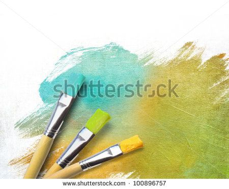 Artist brushes with a half finished painted color canvas - stock photo