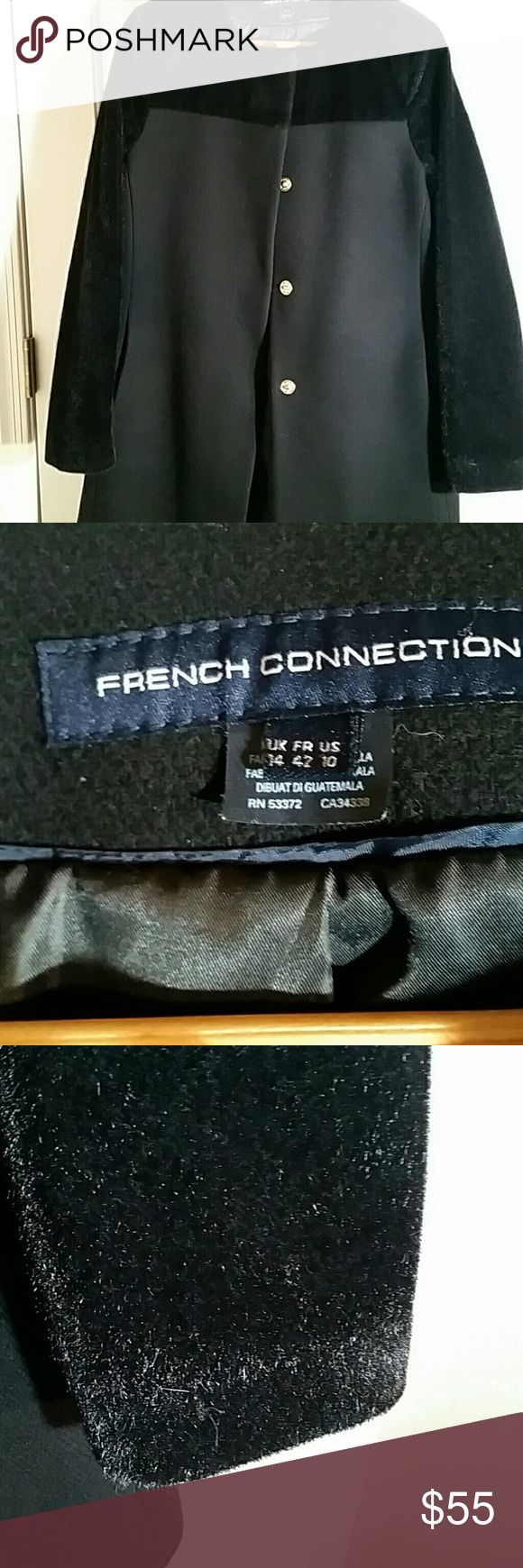 Gorgeous french connection car coat. Gorgeous. Ladies faux fur sleeves and collar. Snap closure. Fully lined. Very fashionable. Just picked up from the cleaner. PERFECT CONDITION. Knee length. Worn one short season. Bought from rue la la  .still selling in retail stores. Trending 99. Buy now and save money. Black on black. French Connection Jackets & Coats