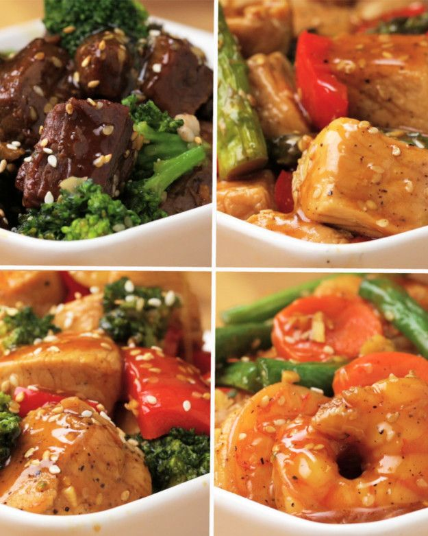 One Pan Stir-Fry 4 Ways: Beef and broccoli, pork and asparagus, shrimp and green bean, and chicken and broccoli