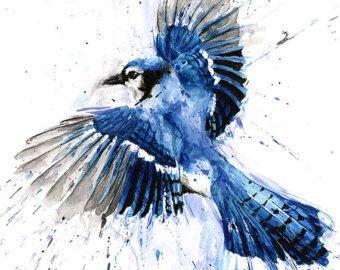 BLUE JAY PRINT blue jay art blue jay watercolor by SignedSweet