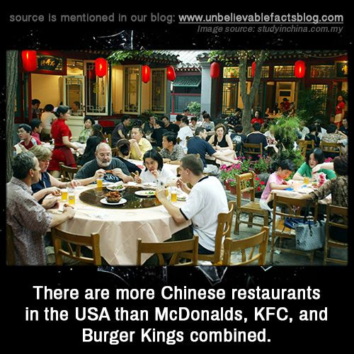 There are more Chinese restaurants in the USA than McDonalds, KFC, and Burger Kings combined.
