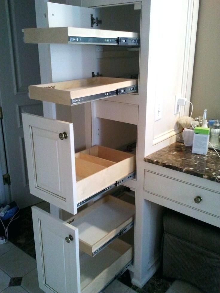 Pull Out Shelves For Cabinet Need More Vanity Storage Space Call Of Get Slide Out Shelves Built In Bathroom Storage Bathroom Storage Solutions Bathroom Storage