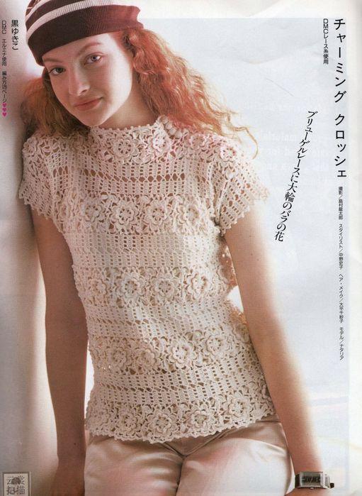 ..BonItA BLusa..: Beige Blouses, Crochet Blouses, Crochet Moda, Crochet Patterns, Crochet Tops, Tops Crochet, Crochet Charts, Crochet Clothing, Shirt