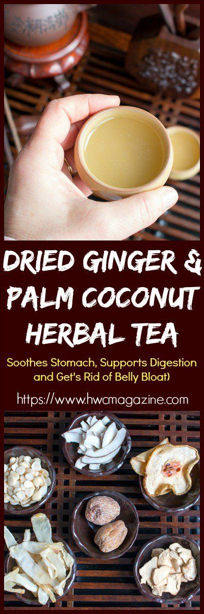 Dried Ginger and Palm Coconut Herbal Tea / ROOT + SPRING/ TCM/ TRADITIONAL CHINESE MEDICINE/ ADAPTOGENIC/ SOOTHES STOMACH/ SUPPORTS DIGESTION/ GET RID of BELLY BLOAT/ TEA/ COCONUT/ HONEY DATES/ https://www.hwcmagazine.com