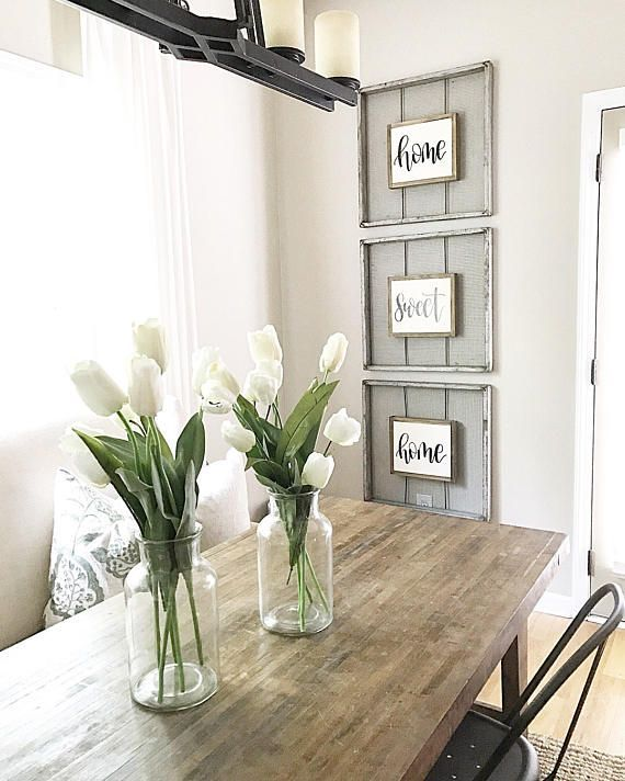 LOVE this space!!! Gorgeous table  beautiful home sweet home wall decor! Found the sign on Etsy! Salvaged Chic Market ... Home Sweet Home Sign | Framed Wood Signs | Rustic Wall Decor | Fixer Upper Inspired | Rustic Wood Signs | Farmhouse Sign | Reclaimed Style