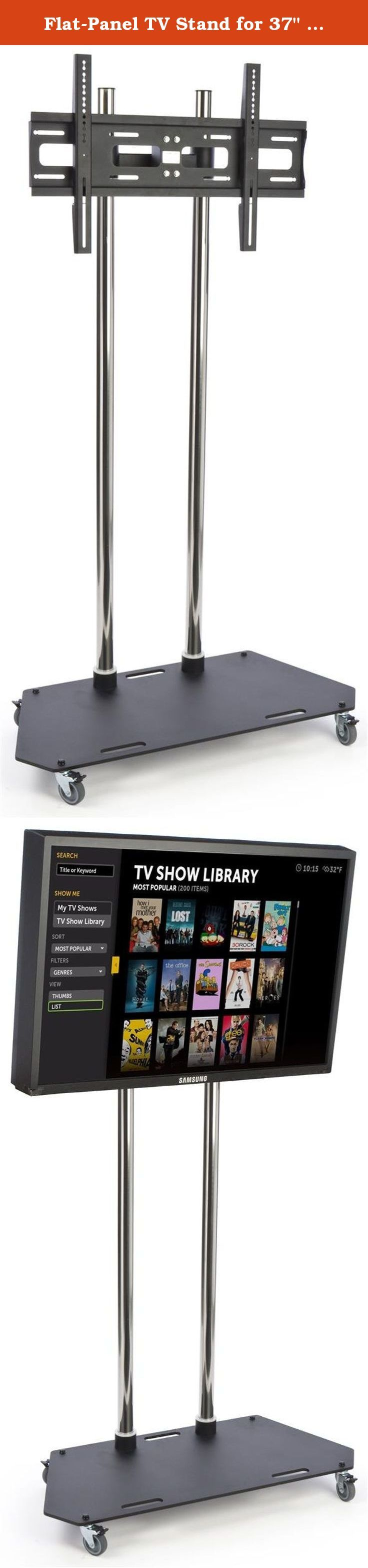 """Flat-Panel TV Stand for 37"""" to 60"""" Monitors, Height Adjustable Tilting Bracket, Locking Casters, Steel (Black). Designed to hold larger flat-panel TV screens, this stand can accommodate monitors 37"""" to 60"""" inches wide and up to 176-lbs. Constructed of chrome and black finish steel, this TV mount features built-in casters that allow Plasma or LCD TVs to be easily moved from one location to another. The casters also lock to provide stability when in use. This TV rack is VESA (Video…"""