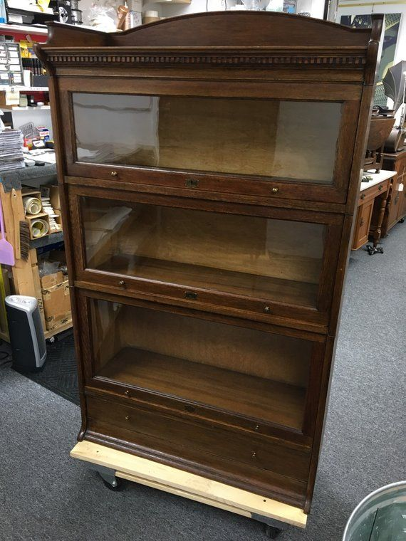 Antique Solid Oak English Barrister Stacking Bookcase