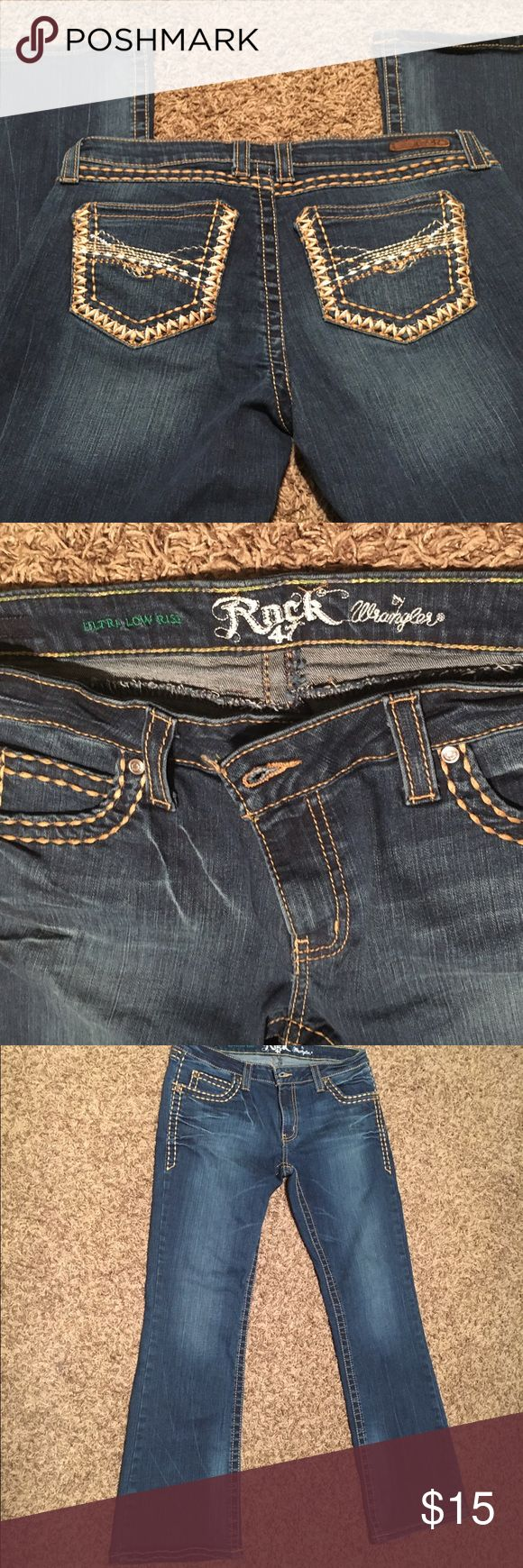 Women's Wrangler Rock 47 jeans size 30 Women's Wrangler Rock 47 jeans. This personally frustrates me when shopping online, so I am so sorry, but the tag was cut from these from irritation. So my measurements are as follows: 17in waist, 8in rise, 30in inseam. Excellent condition, smoke free home! Wrangler Jeans Boot Cut