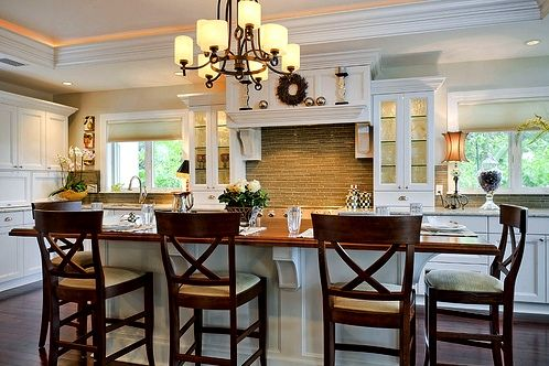 : Barstools, Dreams Kitchens, S'Mores Bar, Kitchens Ideas, Bar Stools, Big Islands, Crowns Moldings, White Cabinets, White Kitchens