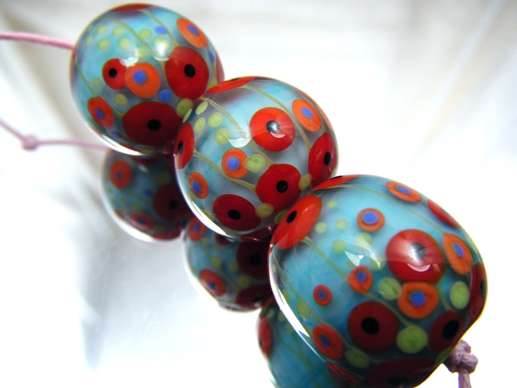 moogin poppy focal lampwork bead set sra