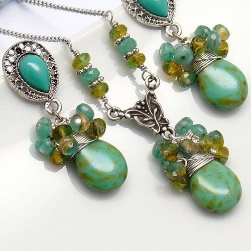 Turquoise Jewelry Set,Antique Silver,Green Necklace Earrings