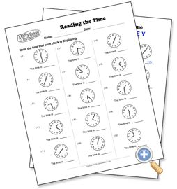 Worksheet Creator for Telling Time.- WorksheetWorks