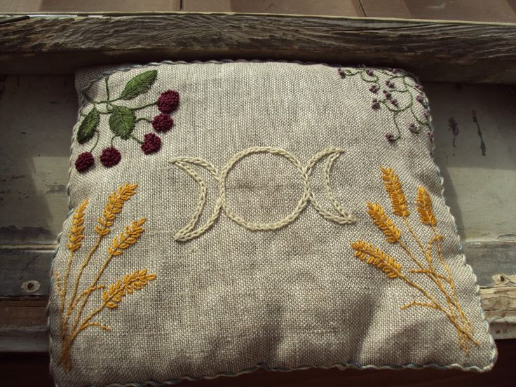 BEAUTIFUL earthy goddess hand embroidery pillow #wicca #pagan
