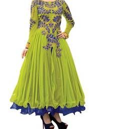 Buy Green and blue embroidered net semi stitched party-wear-gowns party-wear-gown online