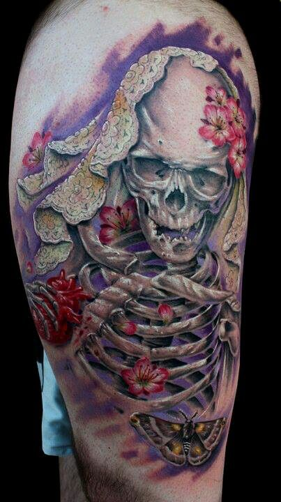 Love this... Skulls & cherry blossoms