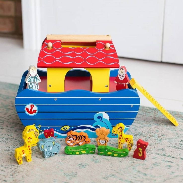 This Personalised Wooden Noahs Ark Toy with lots of chunky wooden animals and Noah and his wife. There is also a wooden ladder. The ark has a slide out panel on one of the sides, perfect for storing everything in when you are finished playing with it.