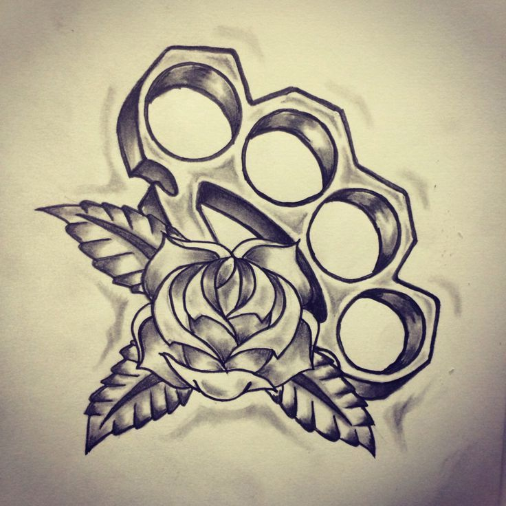 Brass Knuckles Old School tattoo sketch   DUBUDDHA.ORG