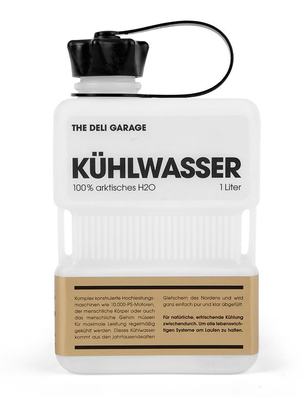 Kühlwasser is a premium glacial water product sourced from the Alpines Designed by Hamburg (Germany) based independent design agency Rocket & Wink