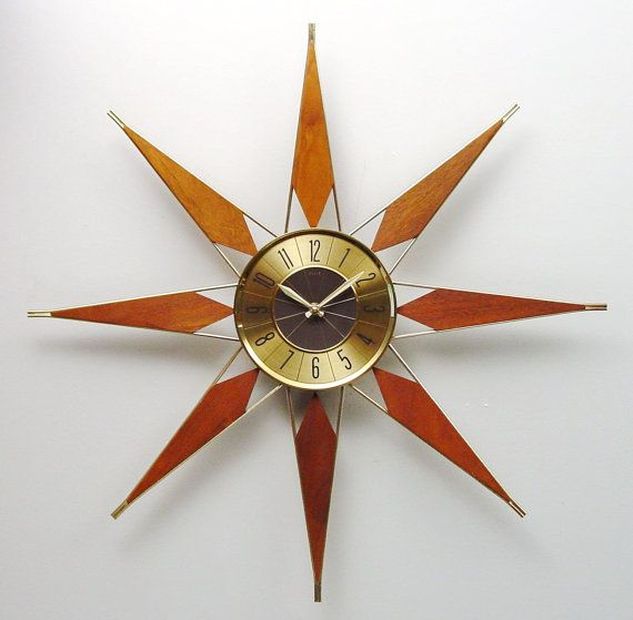 Mid Century Modern Starburst Clock by Elgin Atomic by ClubModerne, $245.00