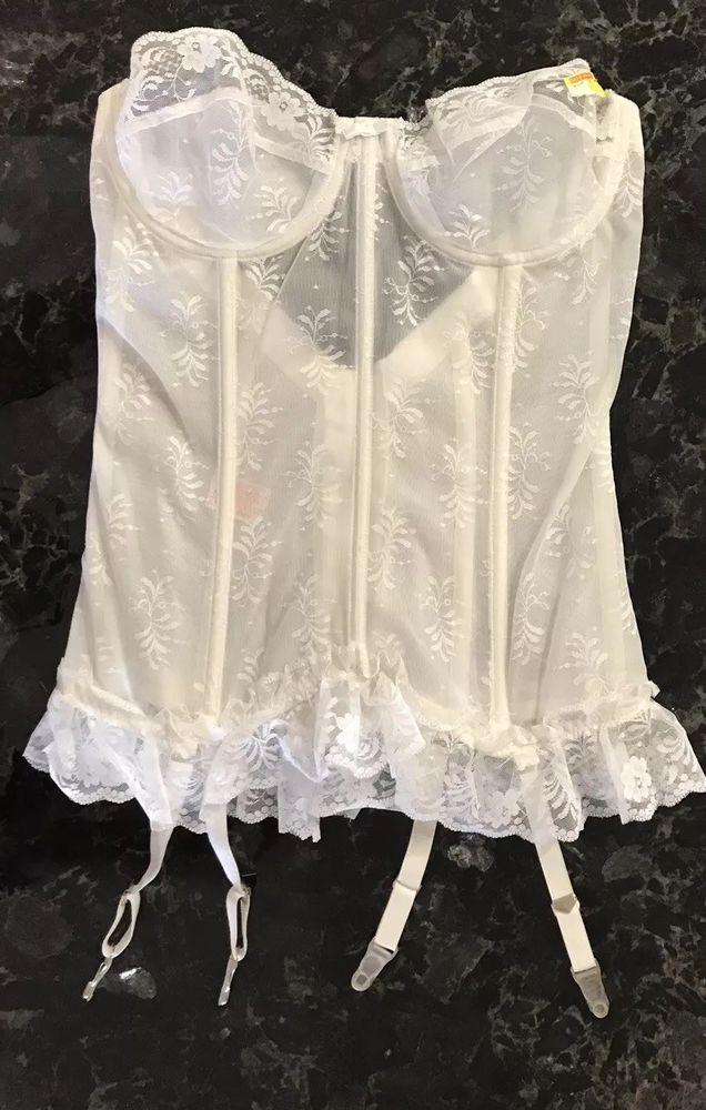 9357d3dc970df Vintage 80s Lace Bustier NOS Sheer Longline Strapless Bra Garter 36B Pinup   LadyMarlene  HookEye