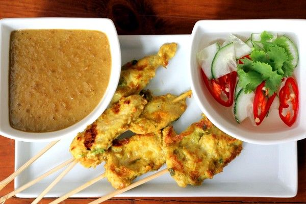 Chicken Satay with Peanut Sauce and sweet dipping sauce