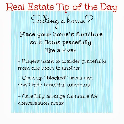 Real Estate Tip of the Day: Proper furniture placement when Selling a Home #home-staging #tips