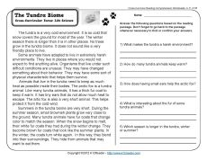 The Tundra Biome | 3rd Grade Reading Comprehension Worksheet